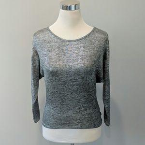 DKNY metallic gray 3/4 sleeve knit top size M
